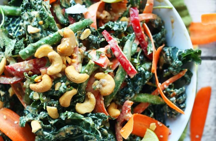 A big gluten-free vegan Thai Kale Salad with Gingery Cashew Dressing