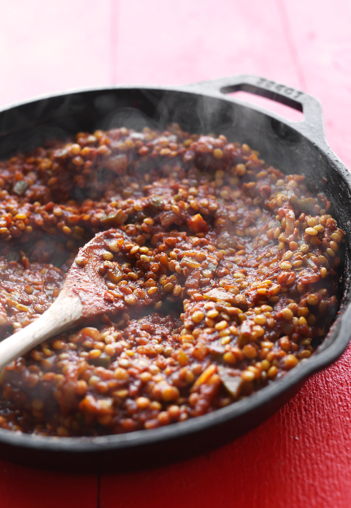 "Cast-iron skillet filled with Vegan Sloppy Joe ""meat"" for a hearty plant-based meal"