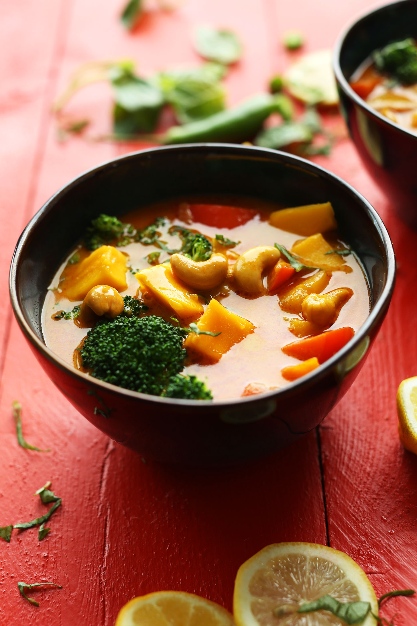 Bowl of our delicious Yellow Thai Mango Curry with Red Pepper and Cashews