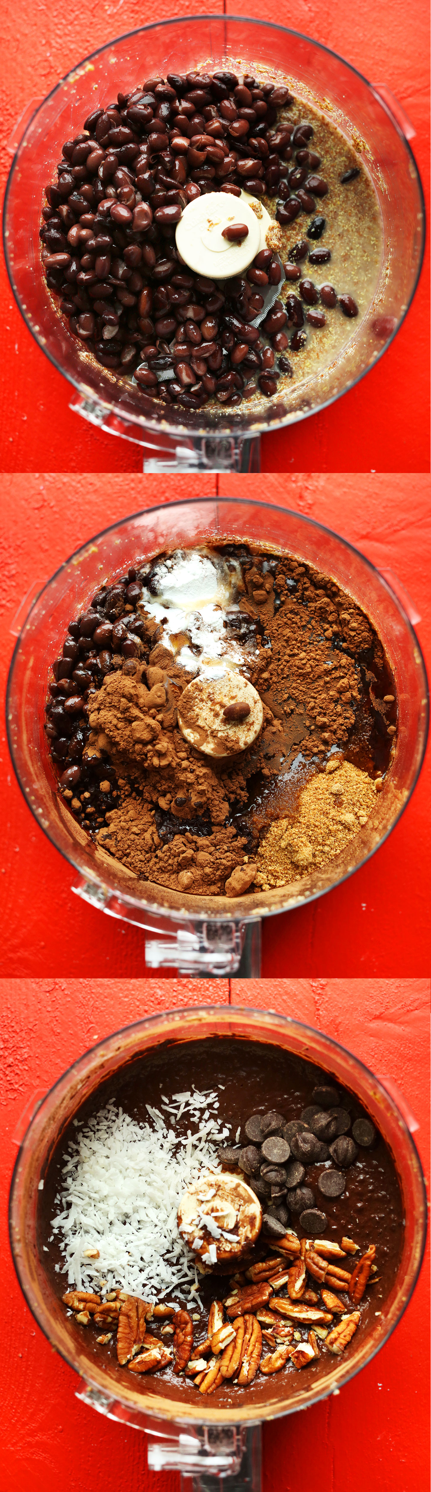 Three photos of the food processor showing the progression of adding ingredients to make Turtle Brownies
