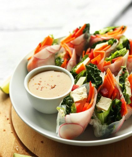 Plate of fresh spring rolls with dipping sauce for an easy vegan gluten-free thai recipe