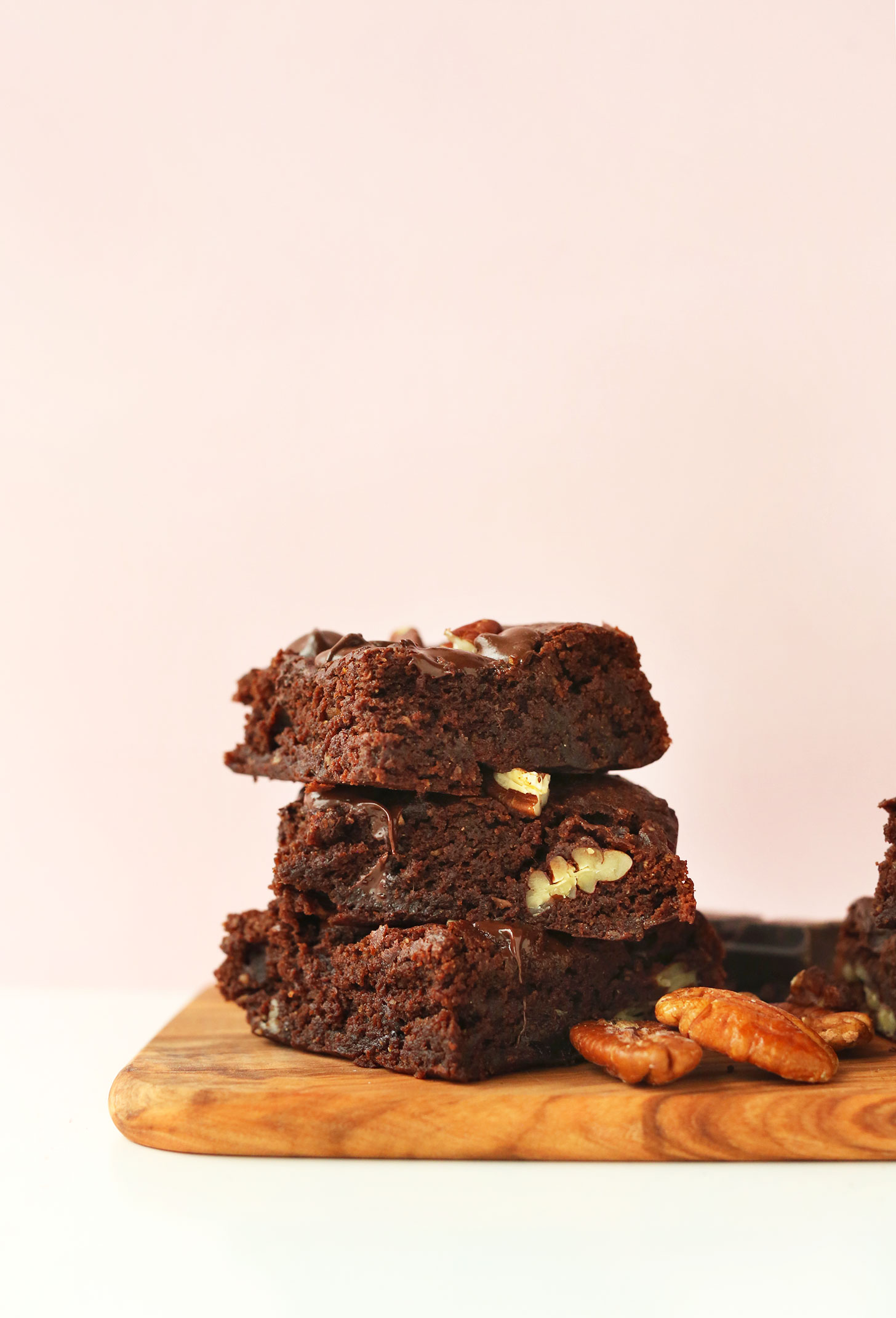 Stack of our fudgy Vegan Gluten-Free Brownies recipe