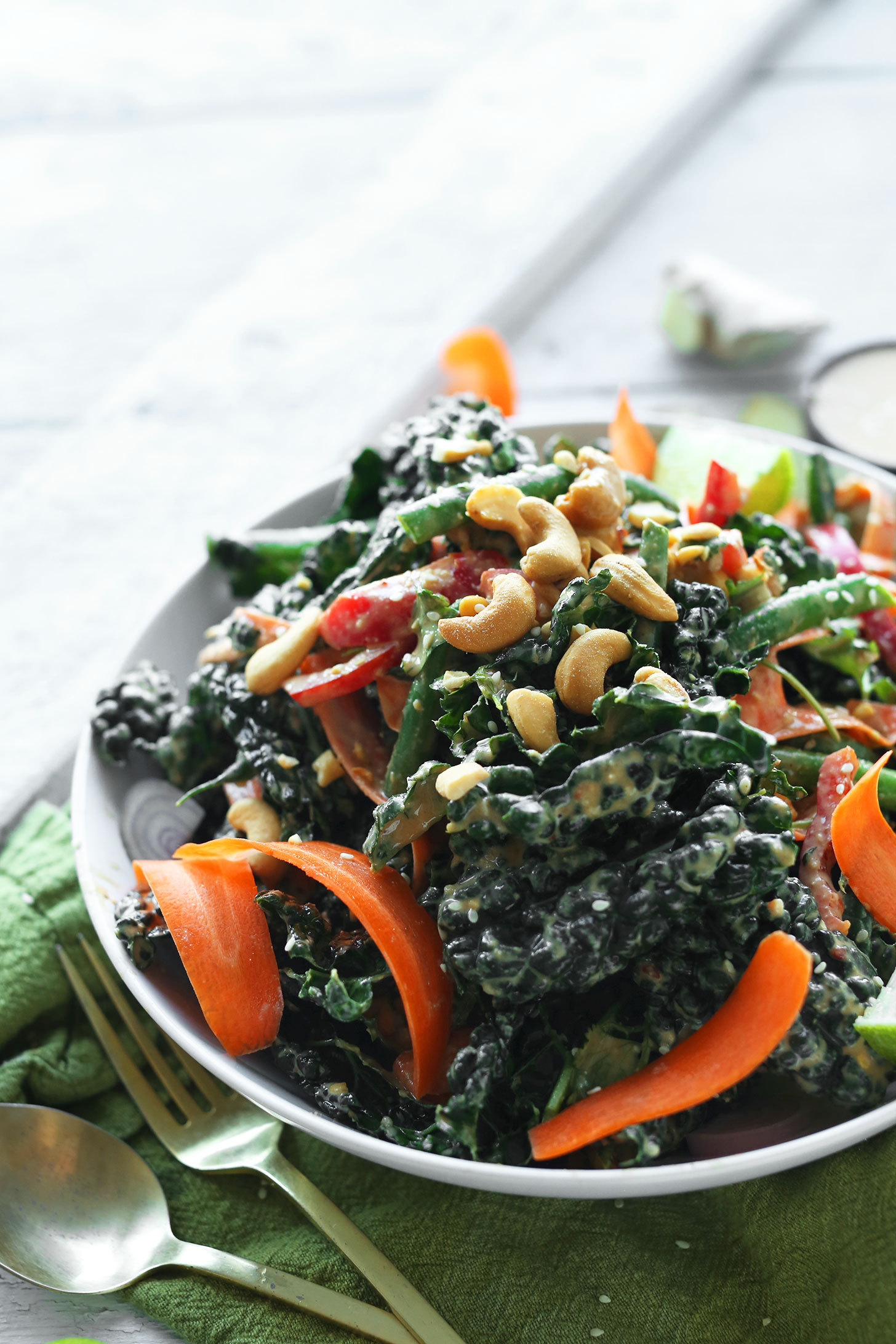 A big bowl of our quick and easy Thai Kale Salad with Cashew Dressing
