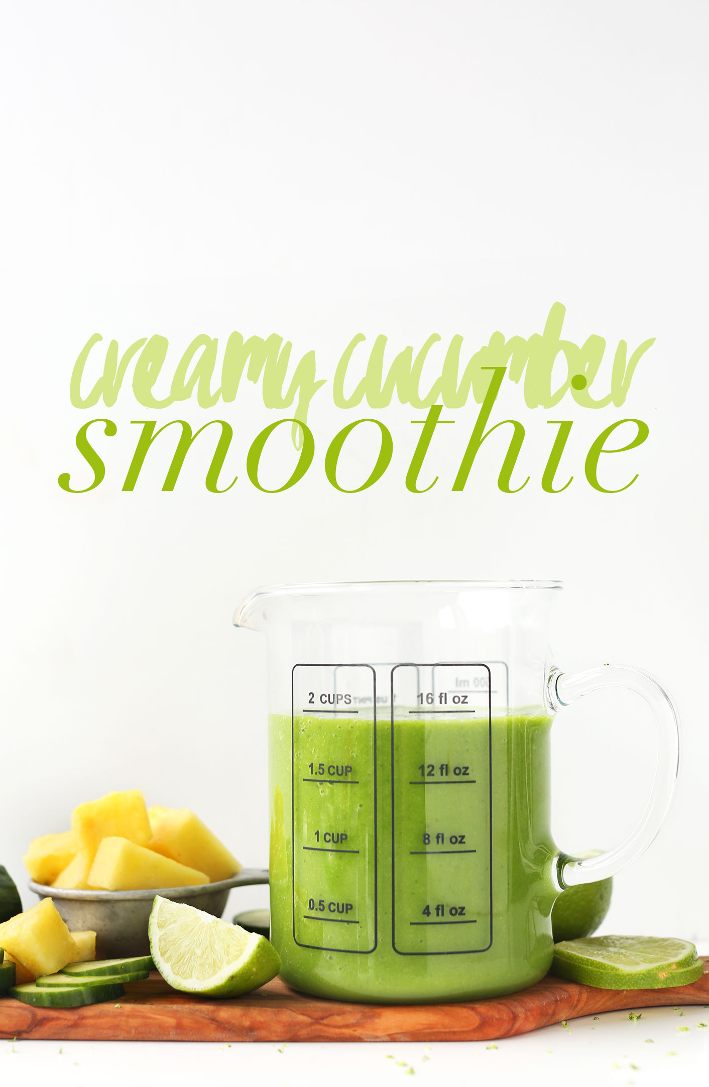 Measuring glass filled with our gluten-free vegan Creamy Cucumber Smoothie recipe