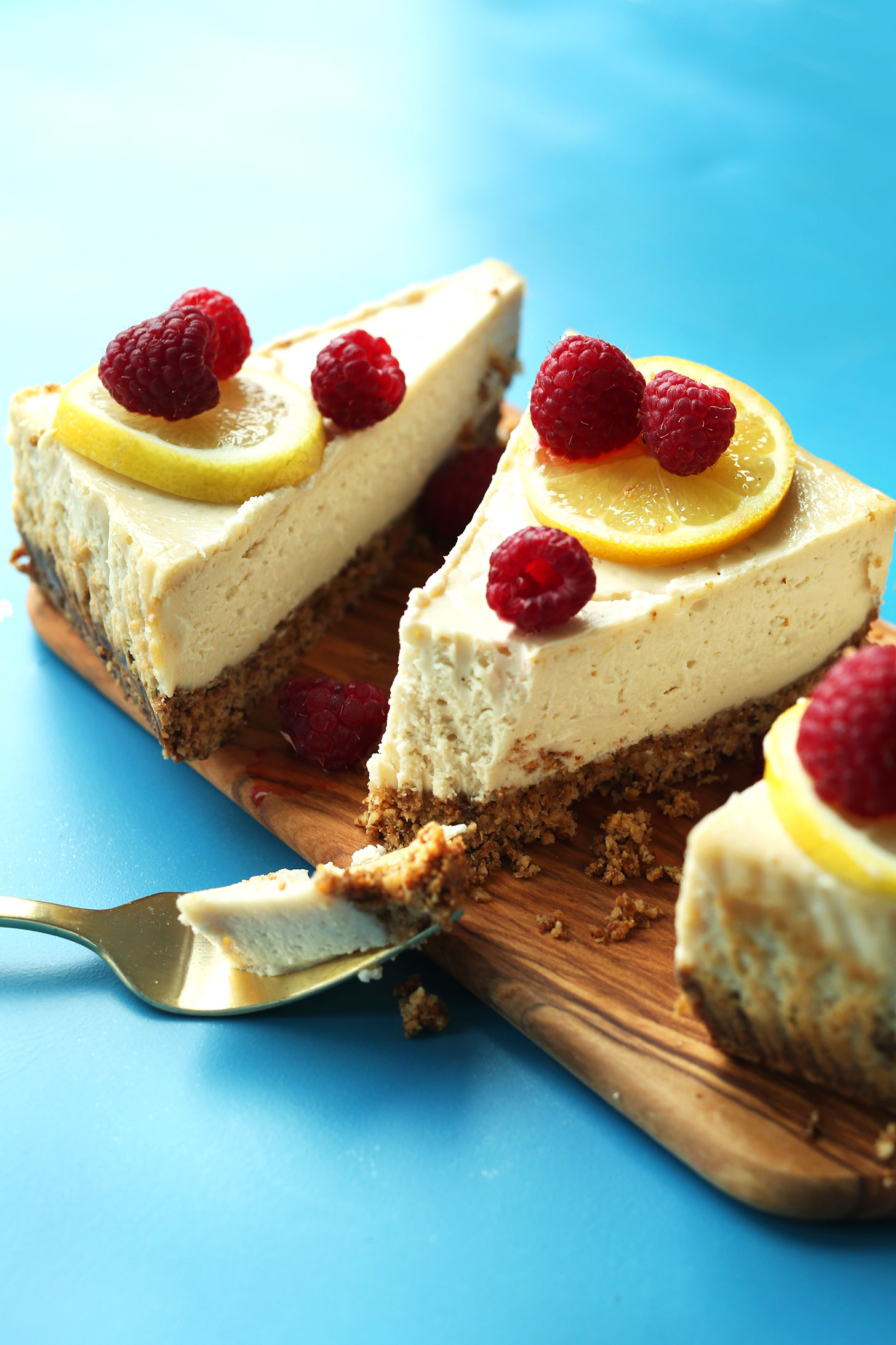 Slices of the best baked vegan gluten-free cheesecake