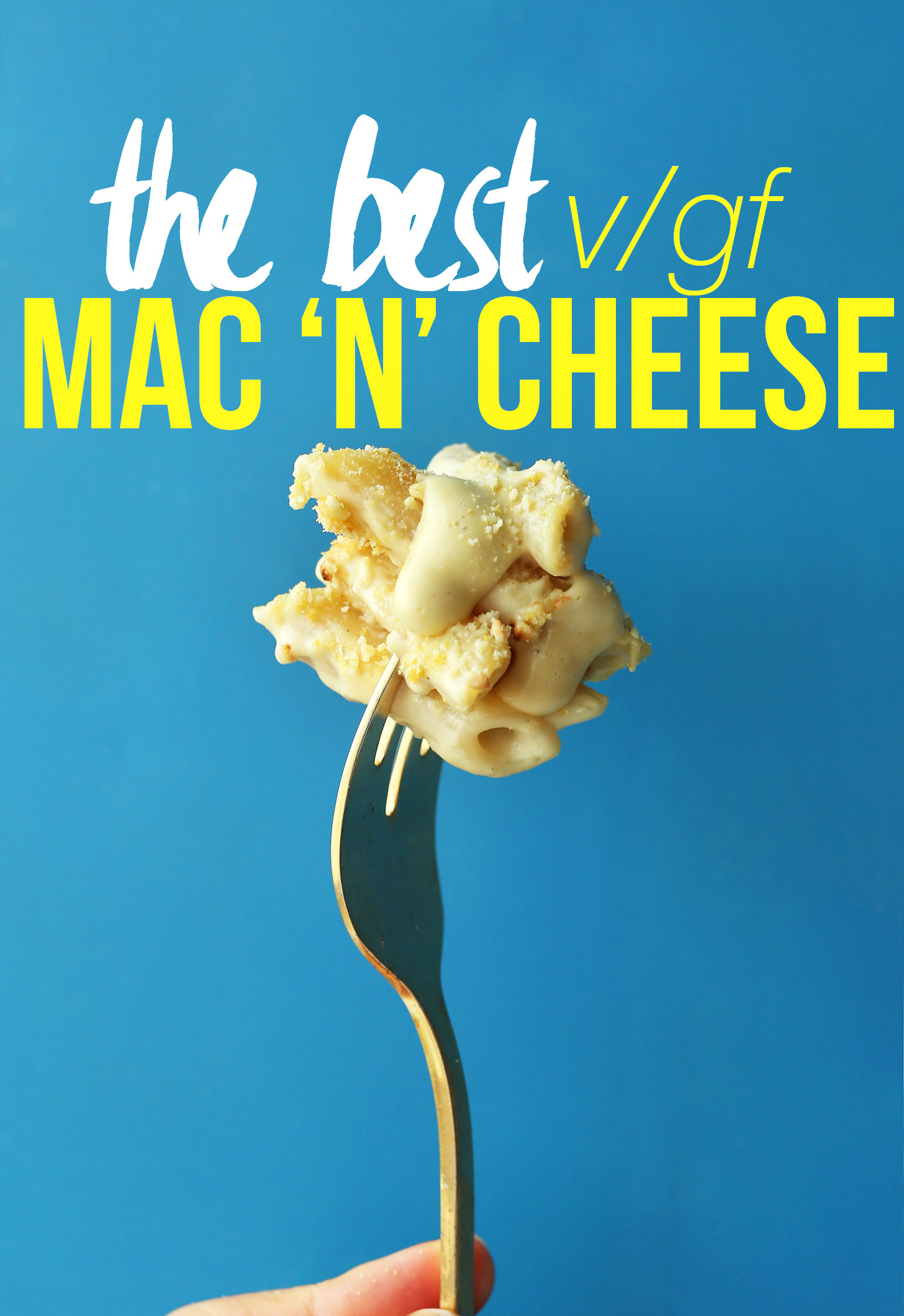 Grabbing a bite of the most delicious homemade gluten-free vegan mac n cheese