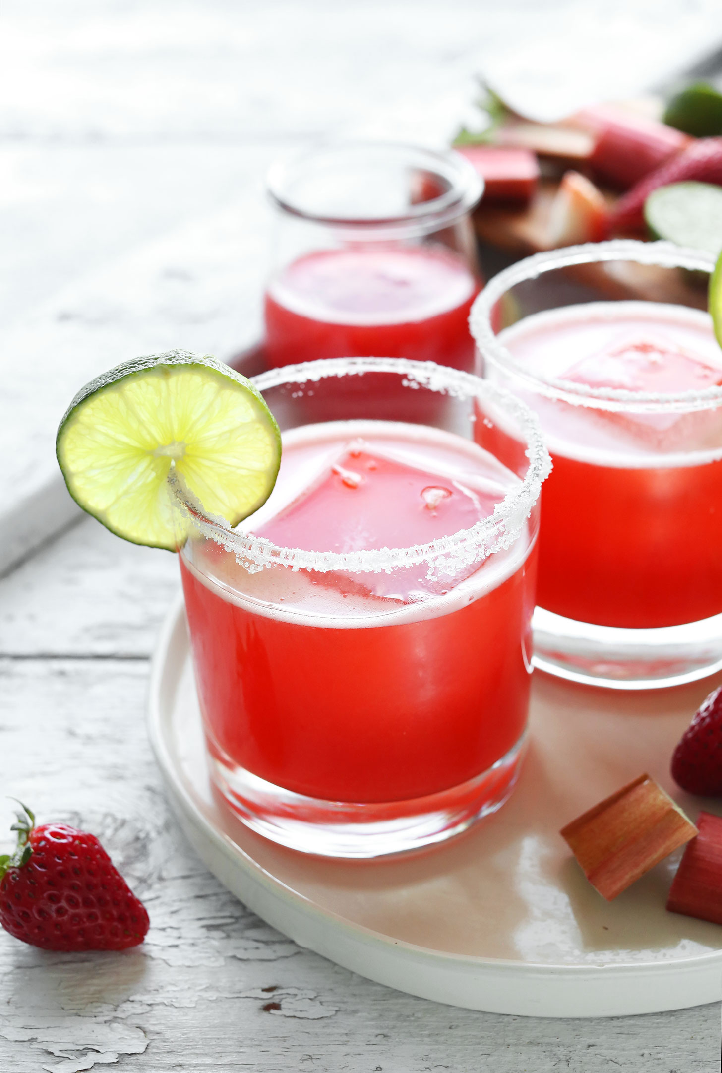 Glasses of our Strawberry Rhubarb Margarita recipe for a refreshing spring drink