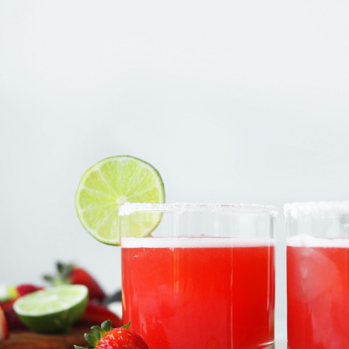 Glasses of our sweet and tart homemade Strawberry Rhubarb Margarita