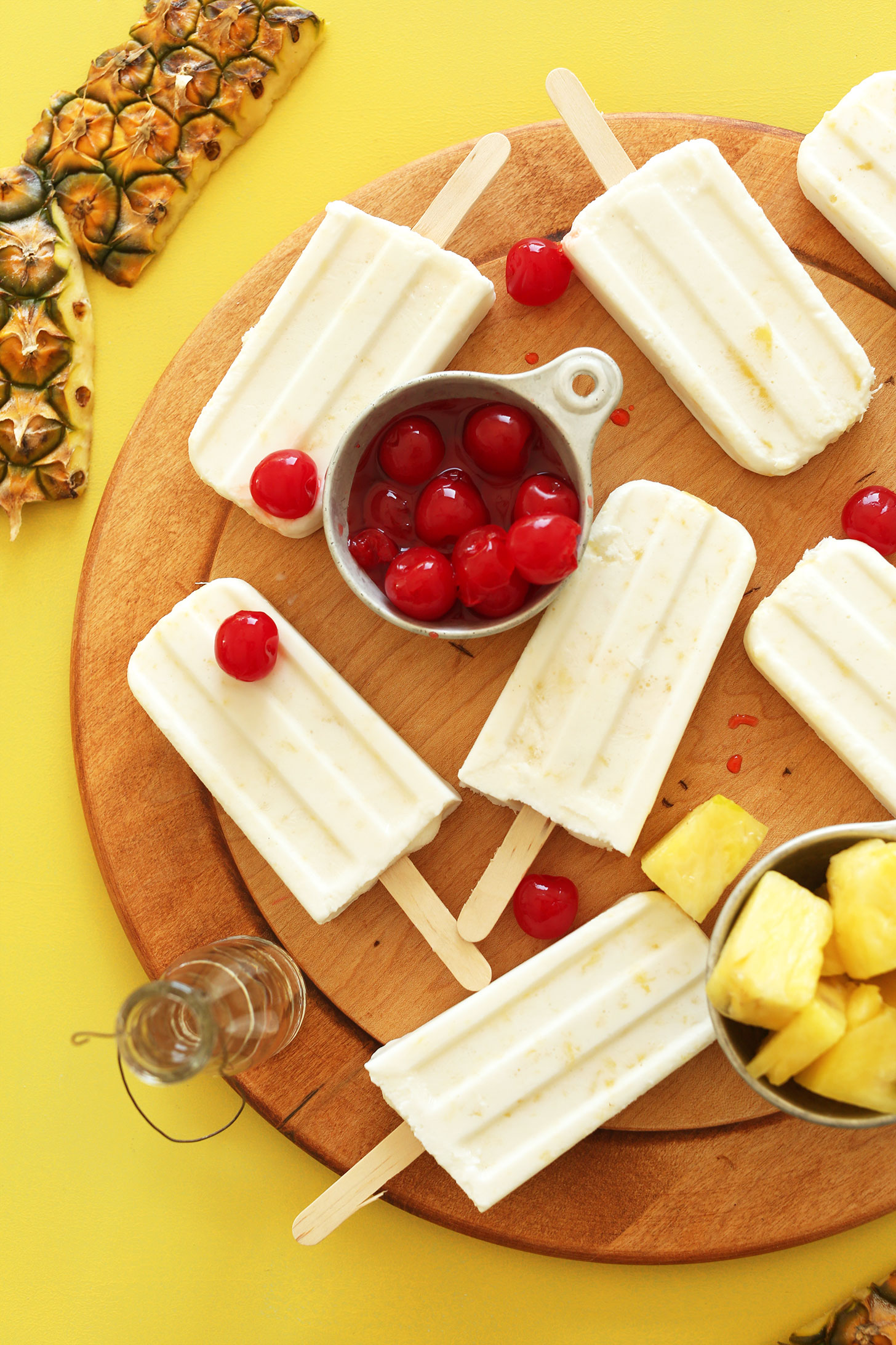 AMAZING 5-ingredient Pina Colada Pops! Creamy, refreshing, SO delicious! #vegan #plantbased #glutenfree #pinacolada #recipe #summer #minimalistbaker