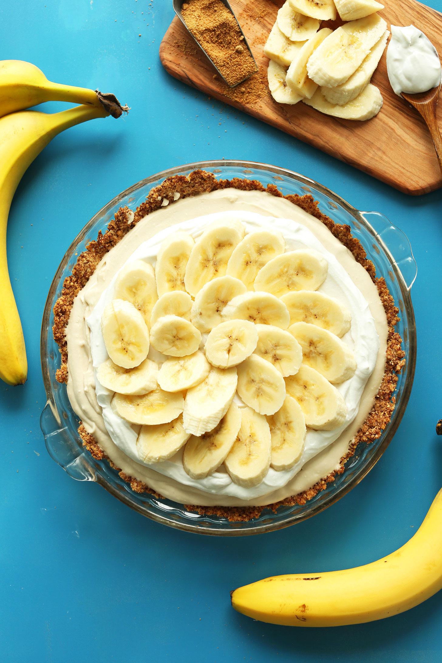Top down shot of our beautiful gluten-free vegan Banana Cream Pie