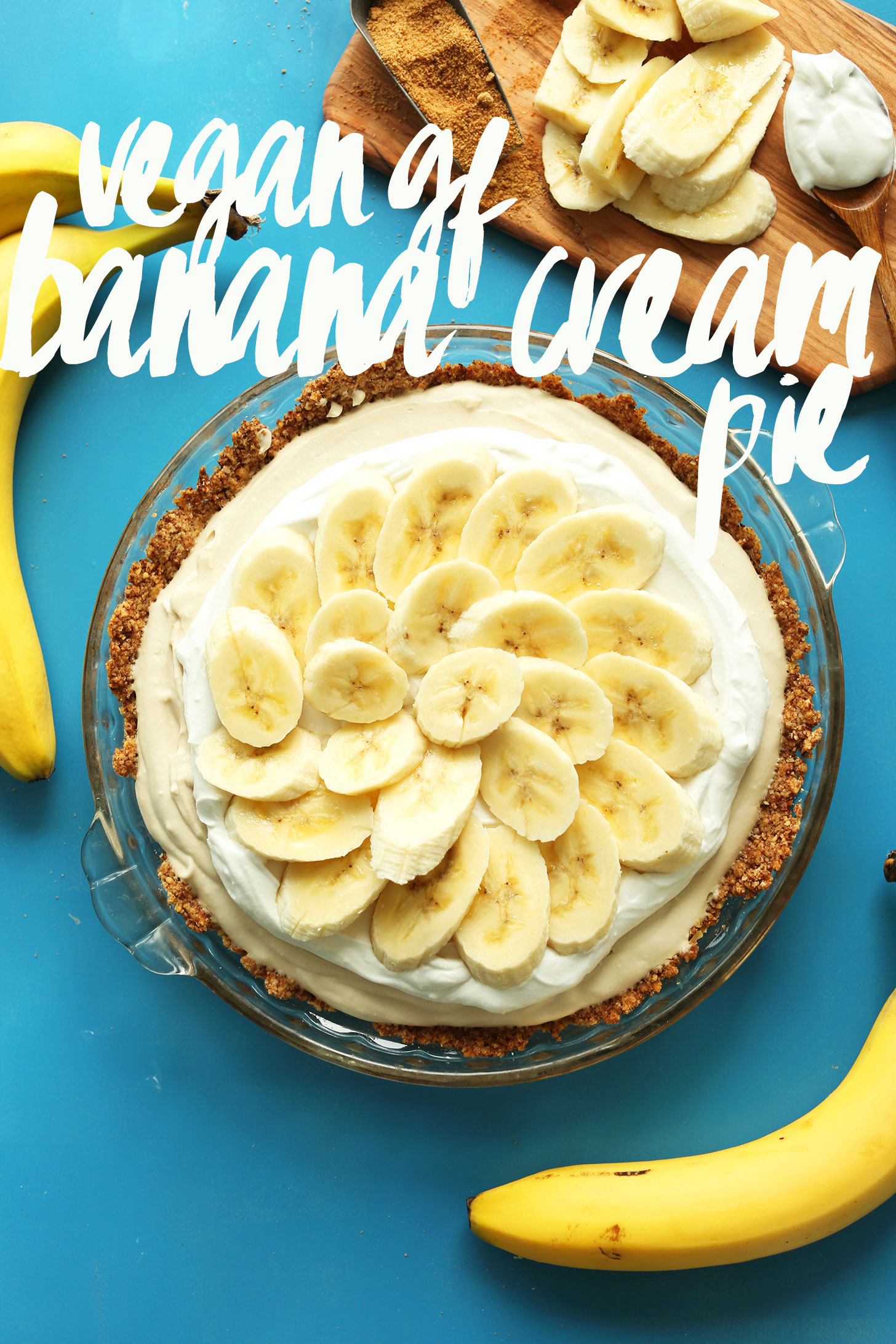 A whole dish full of our amazing gluten-free vegan Banana Cream Pie