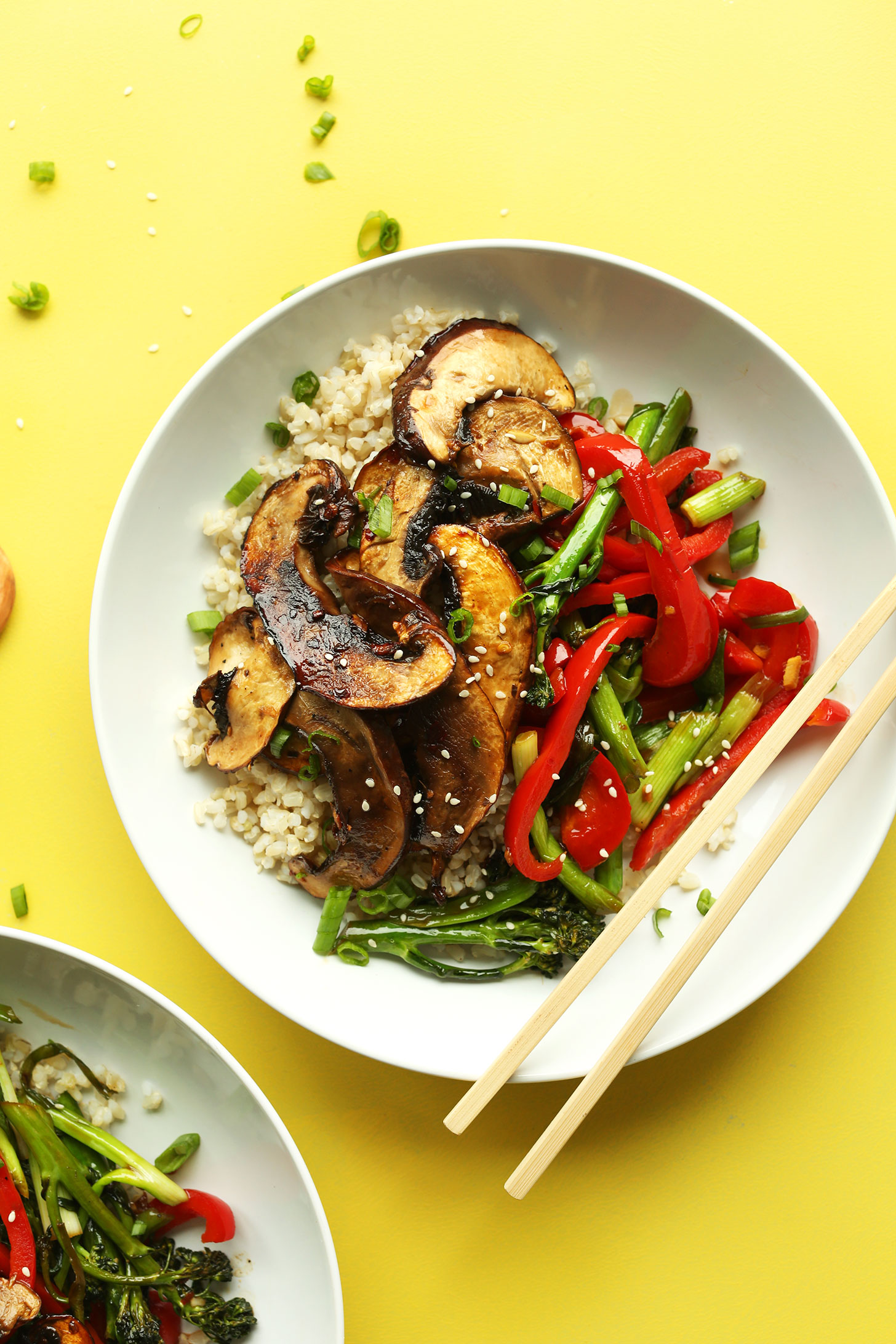 Serving of our flavorful Portobello Mushroom Stir Fry with vegetables for a gluten-free vegan meal
