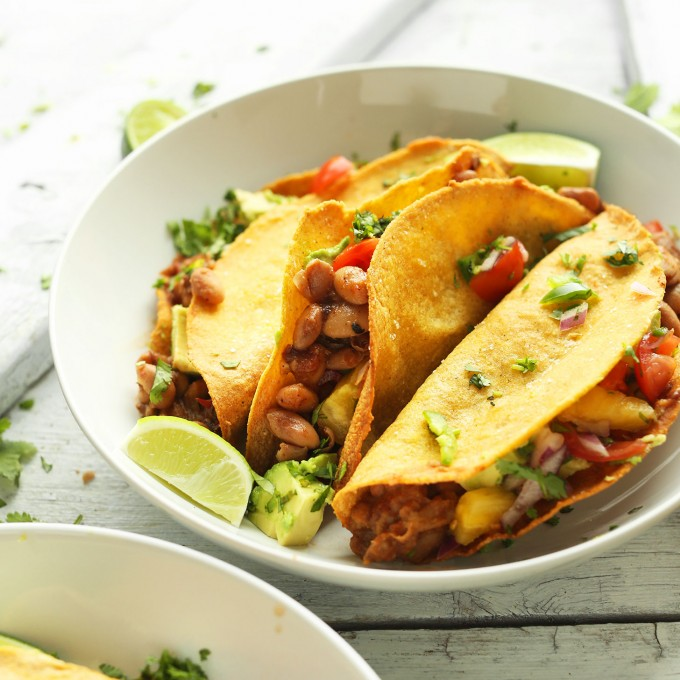 Bowl of our Crispy Baked Tacos with Pineapple Salsa for a delicious plant-based meal