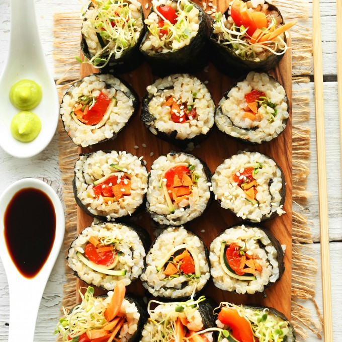 Rolls of our homemade veggie-packed gluten-free vegan sushi