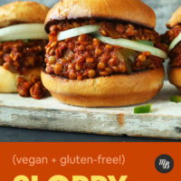 Wood plank with Vegan Sloppy Joes