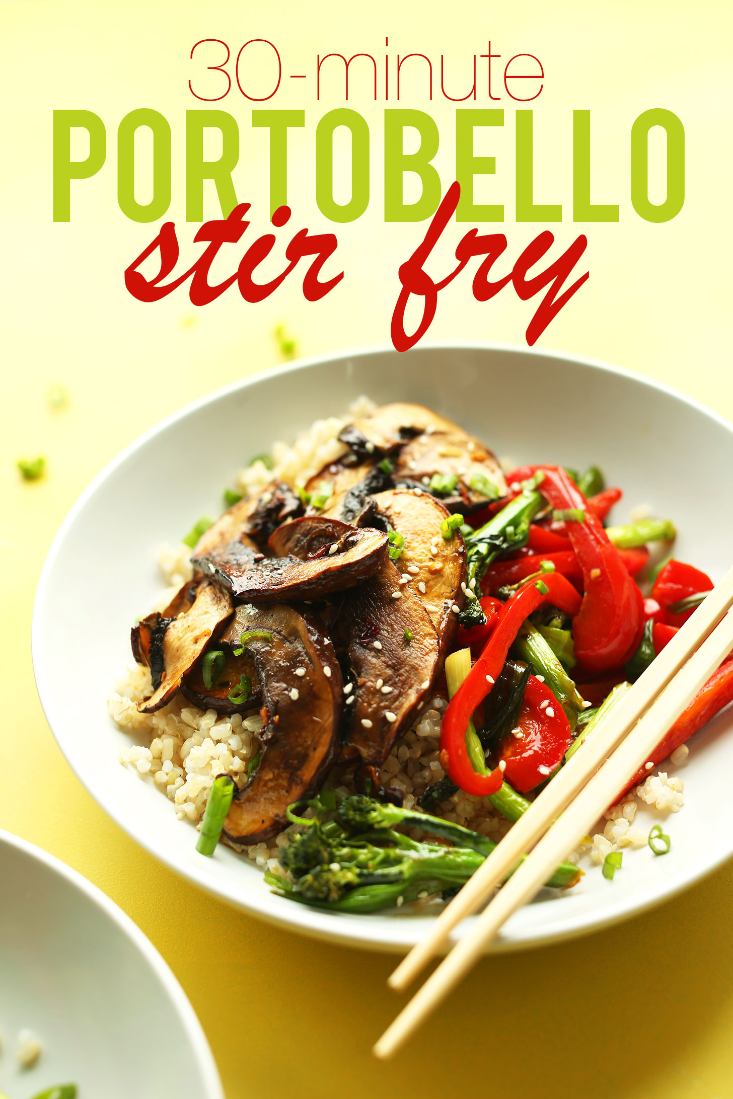 Bowl of our gluten-free vegan Portobello Mushroom Stir Fry recipe served over rice