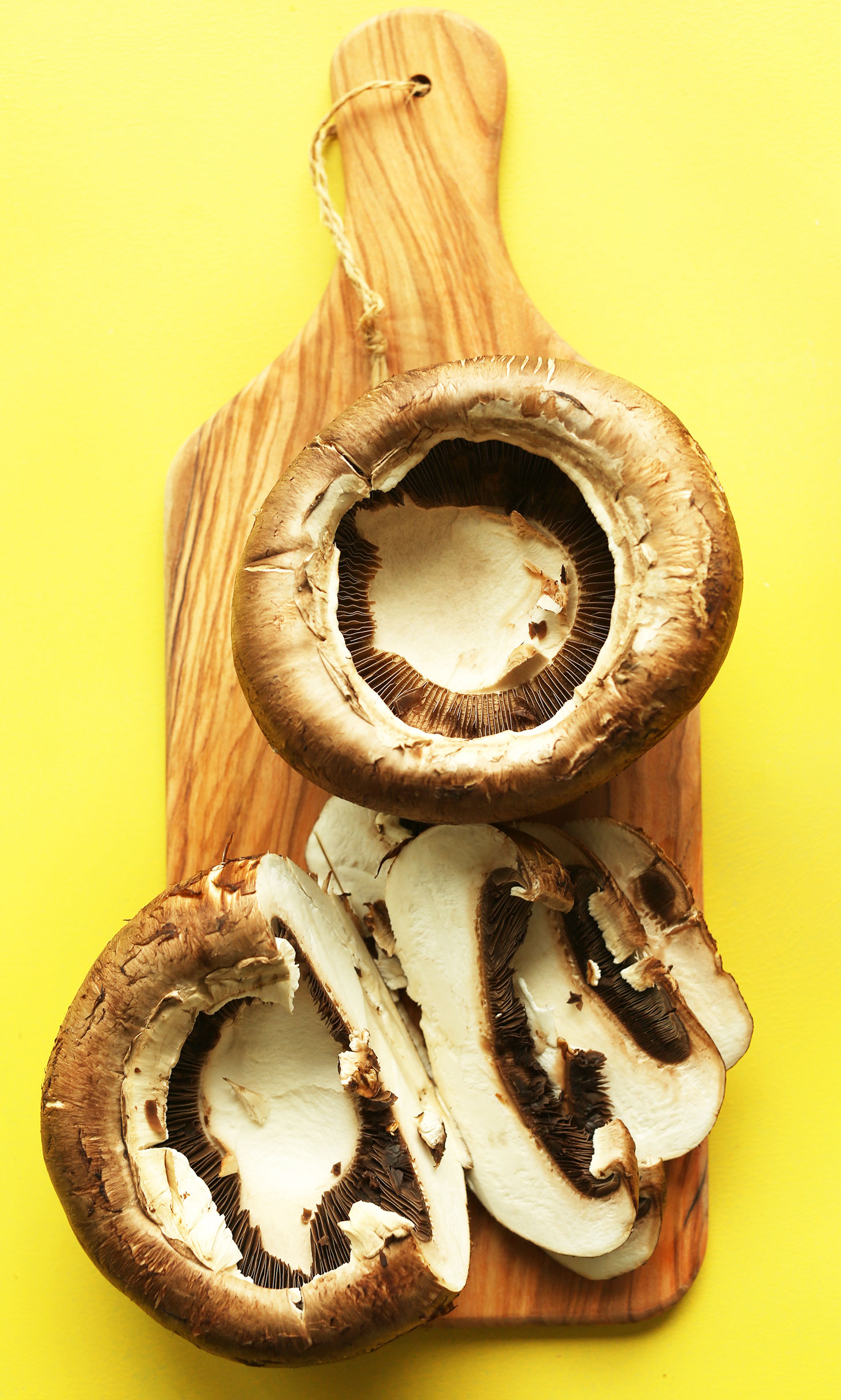 Sliced portobello mushrooms for making a delicious gluten-free plant-based stir fry recipe