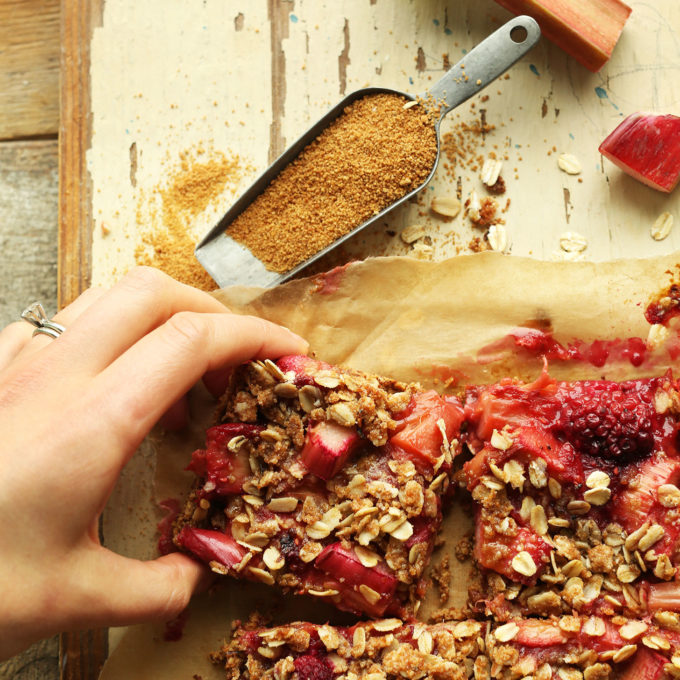 Squares of our healthy gluten-free vegan Strawberry Crumble Bars