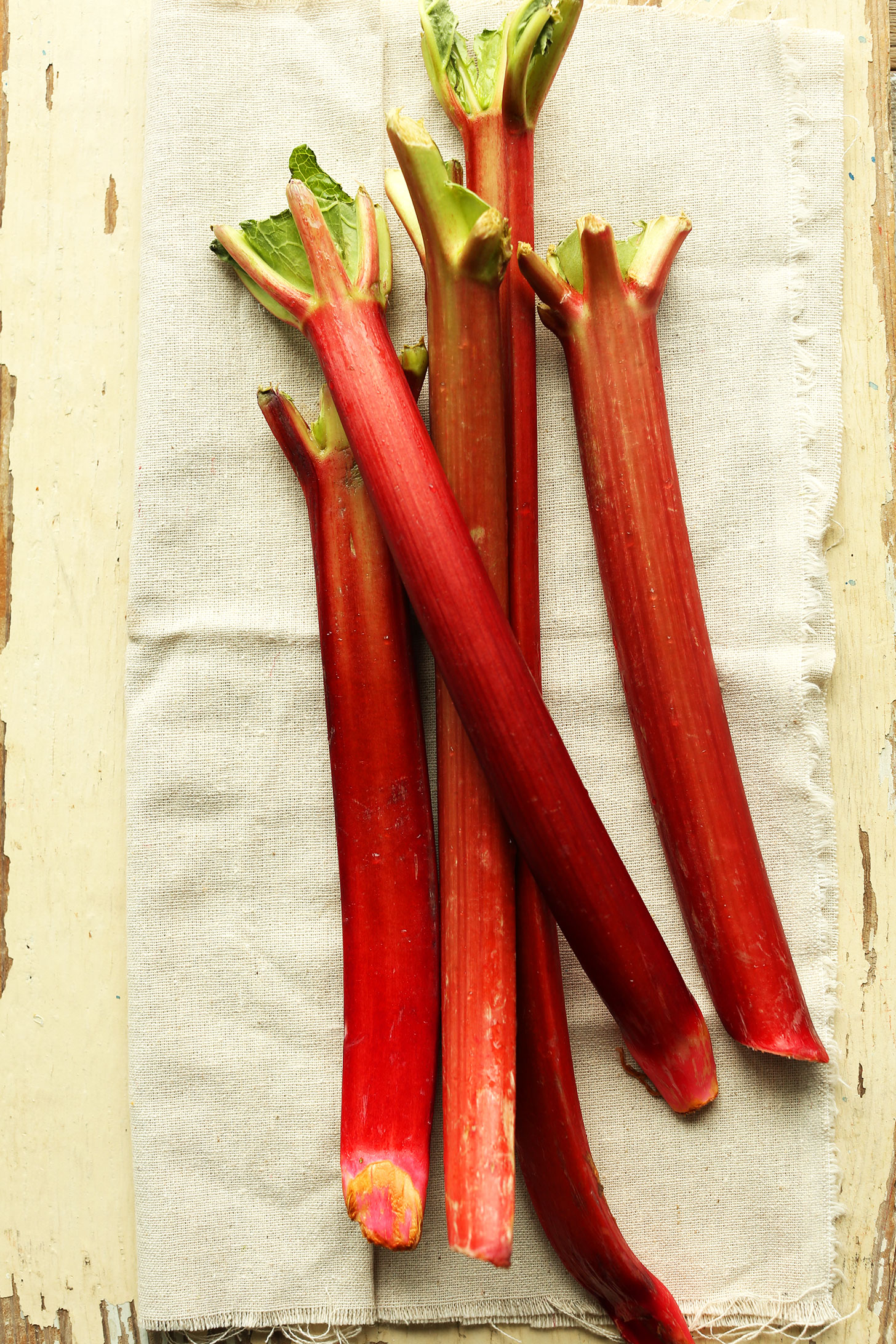 Stalks of fresh rhubarb for make homemade crumble bars