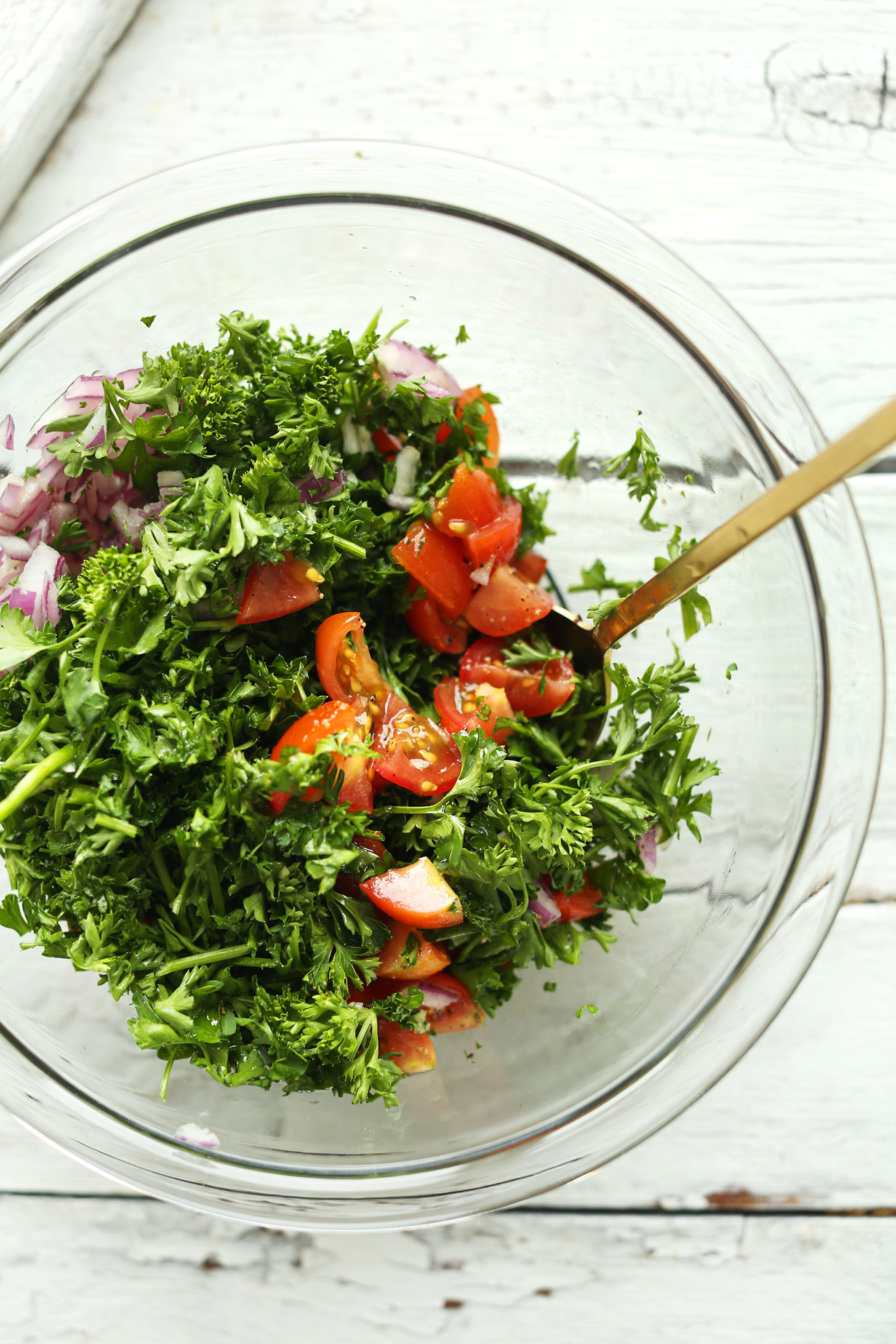 Making parsley salad for our Chickpea Shawarma Dip recipe