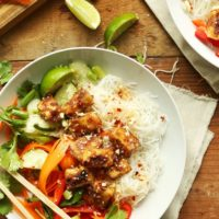 Vegan gluten-free Thai Noodle Bowls with Crispy Almond Butter Tofu