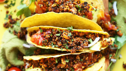 Crispy Vegan Taco Meat in Corn Tortillas for a protein-rich plant-based meal