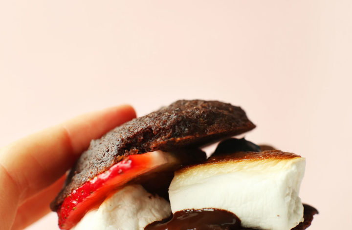 Holding up a delicious gluten-free vegan Whoopie Pie S'More