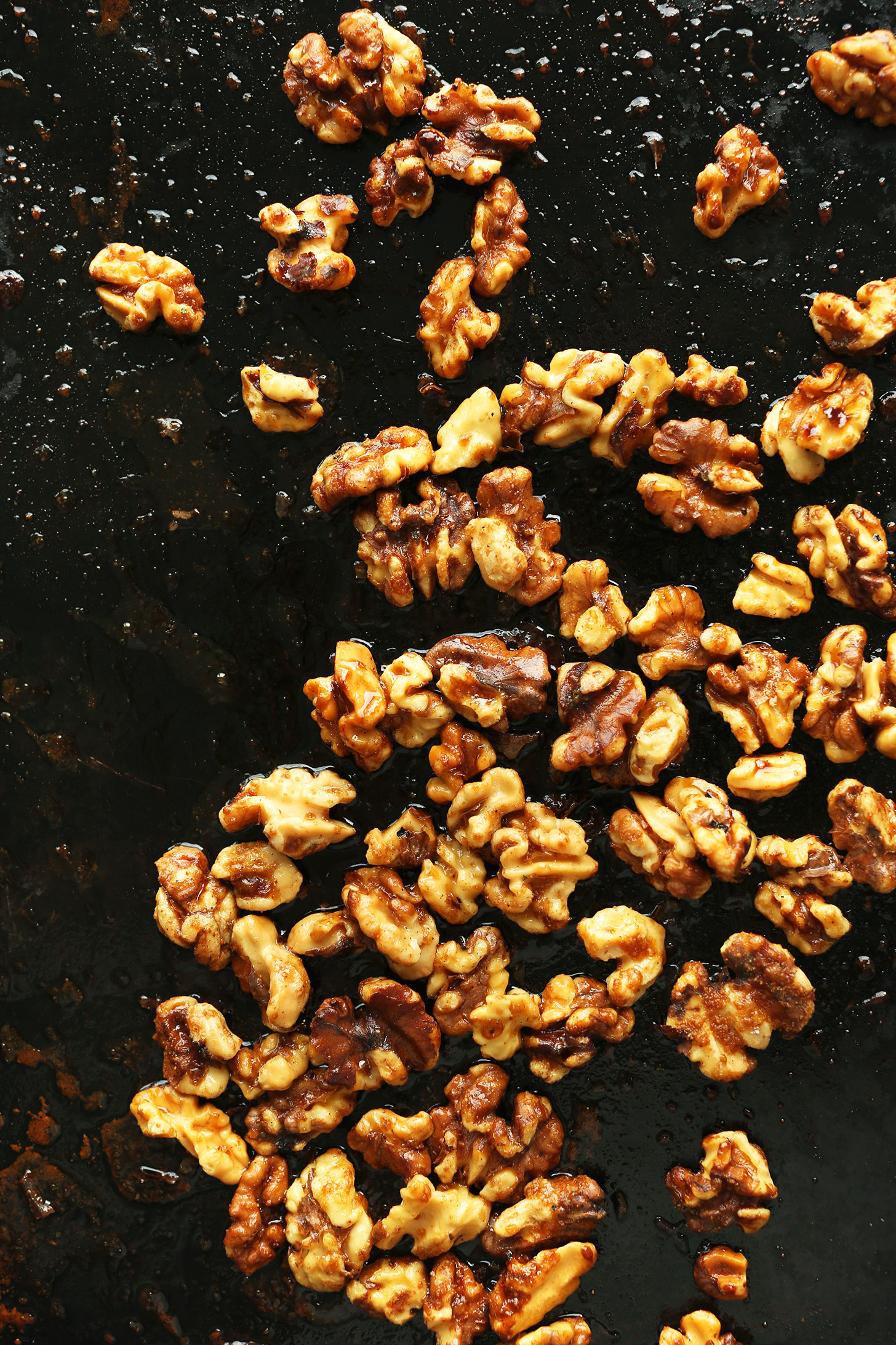 Baking sheet with Candied Walnuts for topping salad
