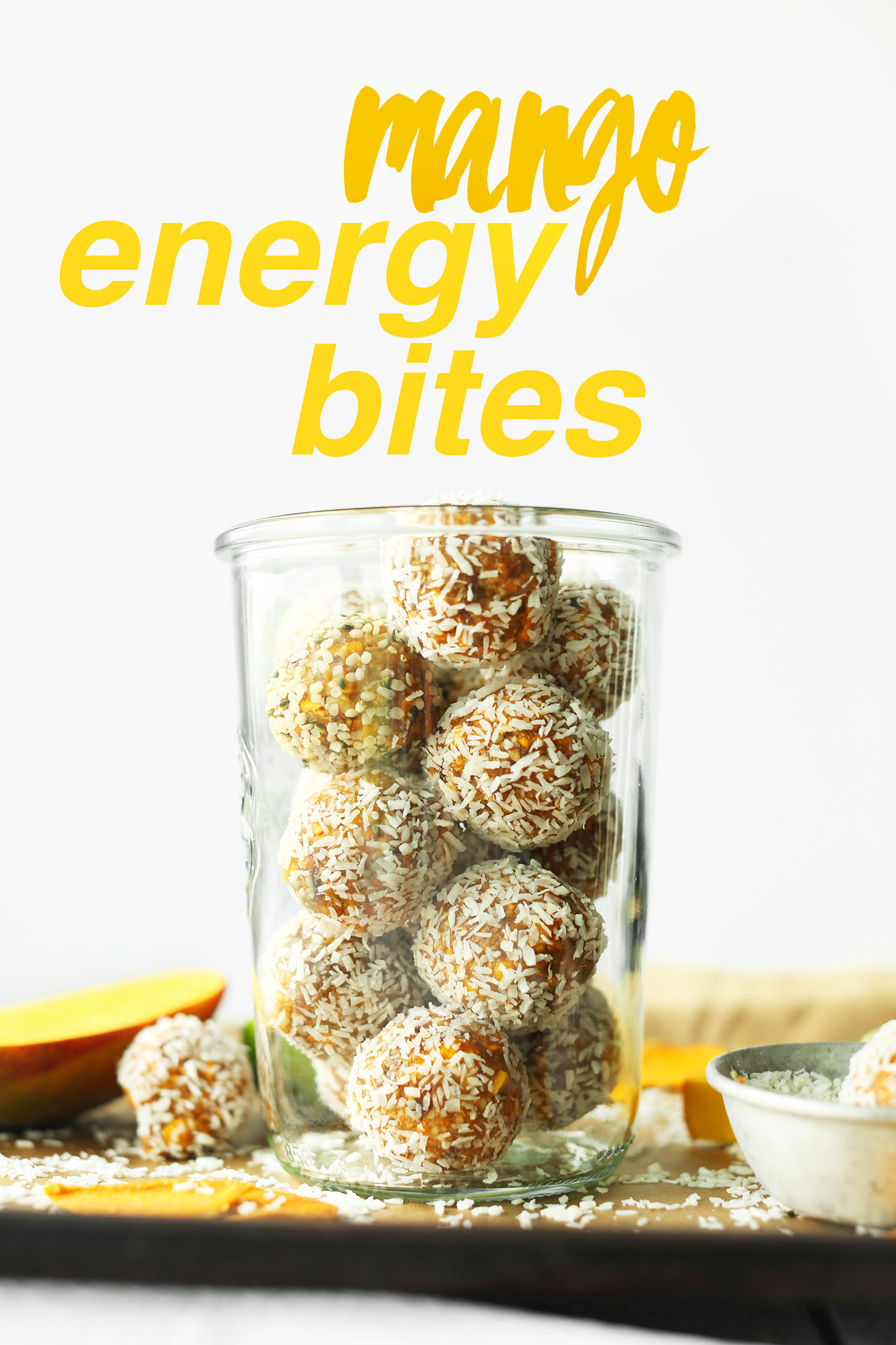 EASY Mango Energy Bites with 6 ingredients, naturally sweetened, full of healthy ingredients! #vegan #glutenfree #mango #recipe #minimalistbaker