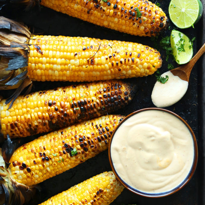 Easy vegan summer side dish of Mexican Grilled Corn with Sriracha Aioli