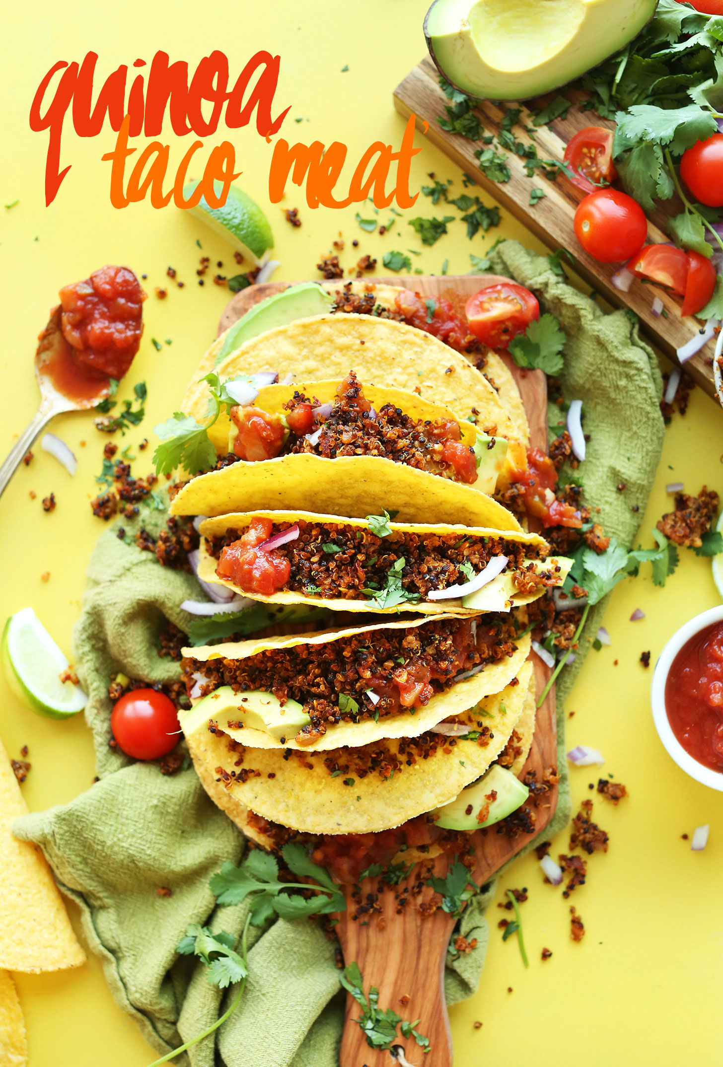 Quinoa taco meat minimalist baker recipes corn tortillas stuffed with homemade vegan quinoa taco meat for a gluten free plant forumfinder