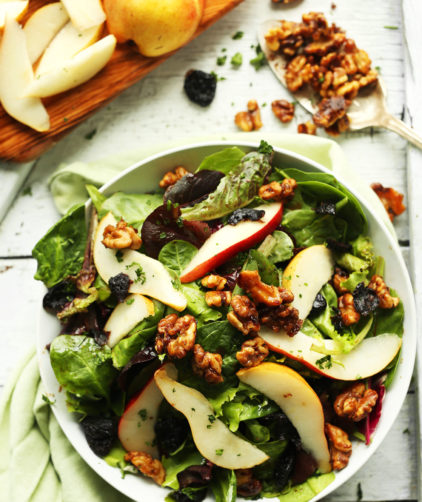 Big bowl of our sweet and flavorful Pear Salad with Dried Cherries and Candied Walnuts