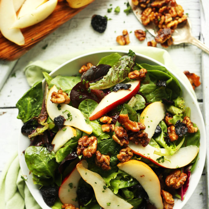 Pear Salad with Dried Cherries and Candied Walnuts