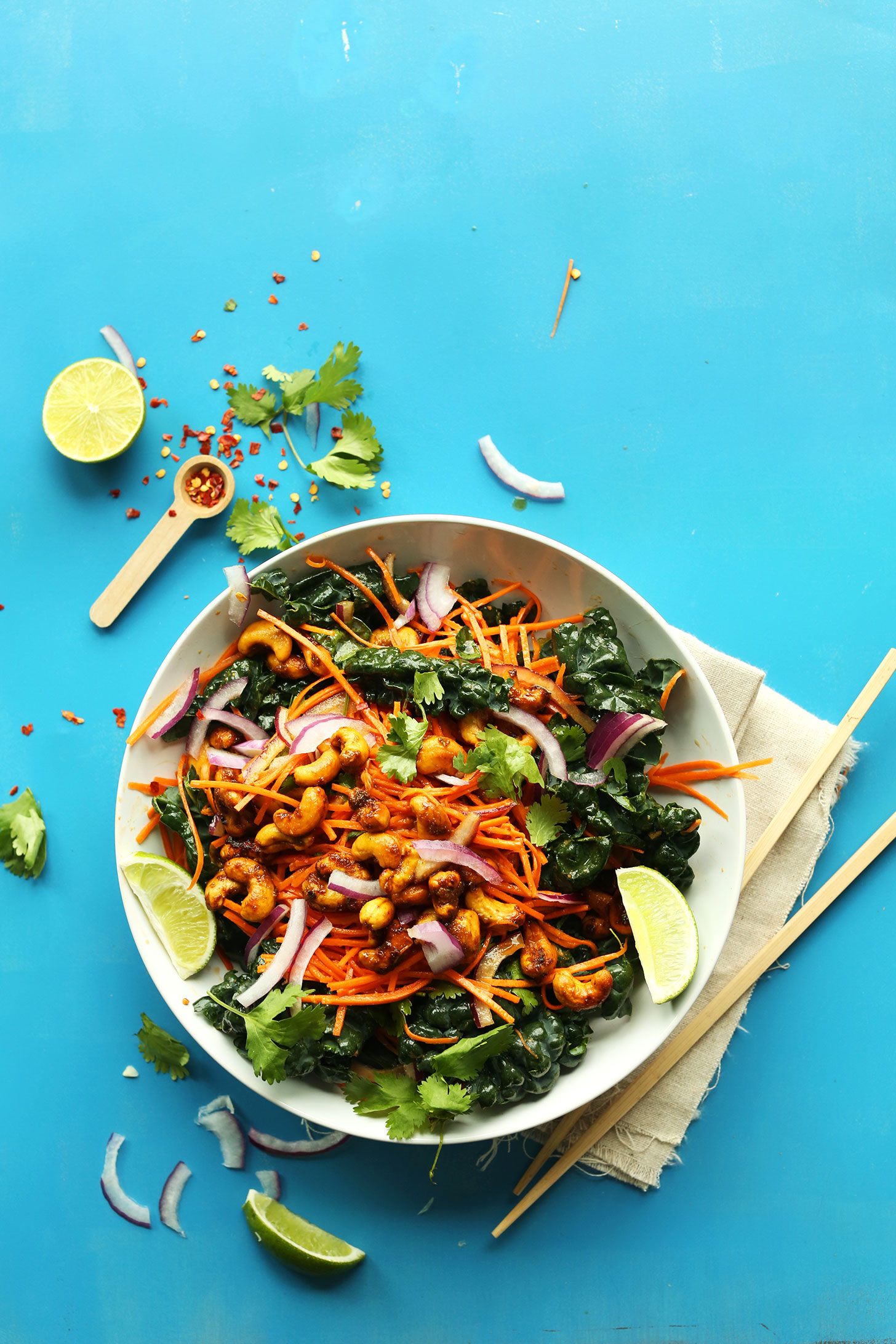 A big bowl of our flavorful Thai Carrot Salad with Curried Cashews for a sweet and crunchy vegan meal