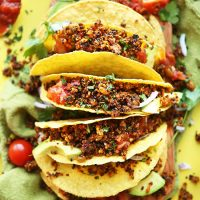 Hard shell corn tortillas filled with Quinoa Taco Meat