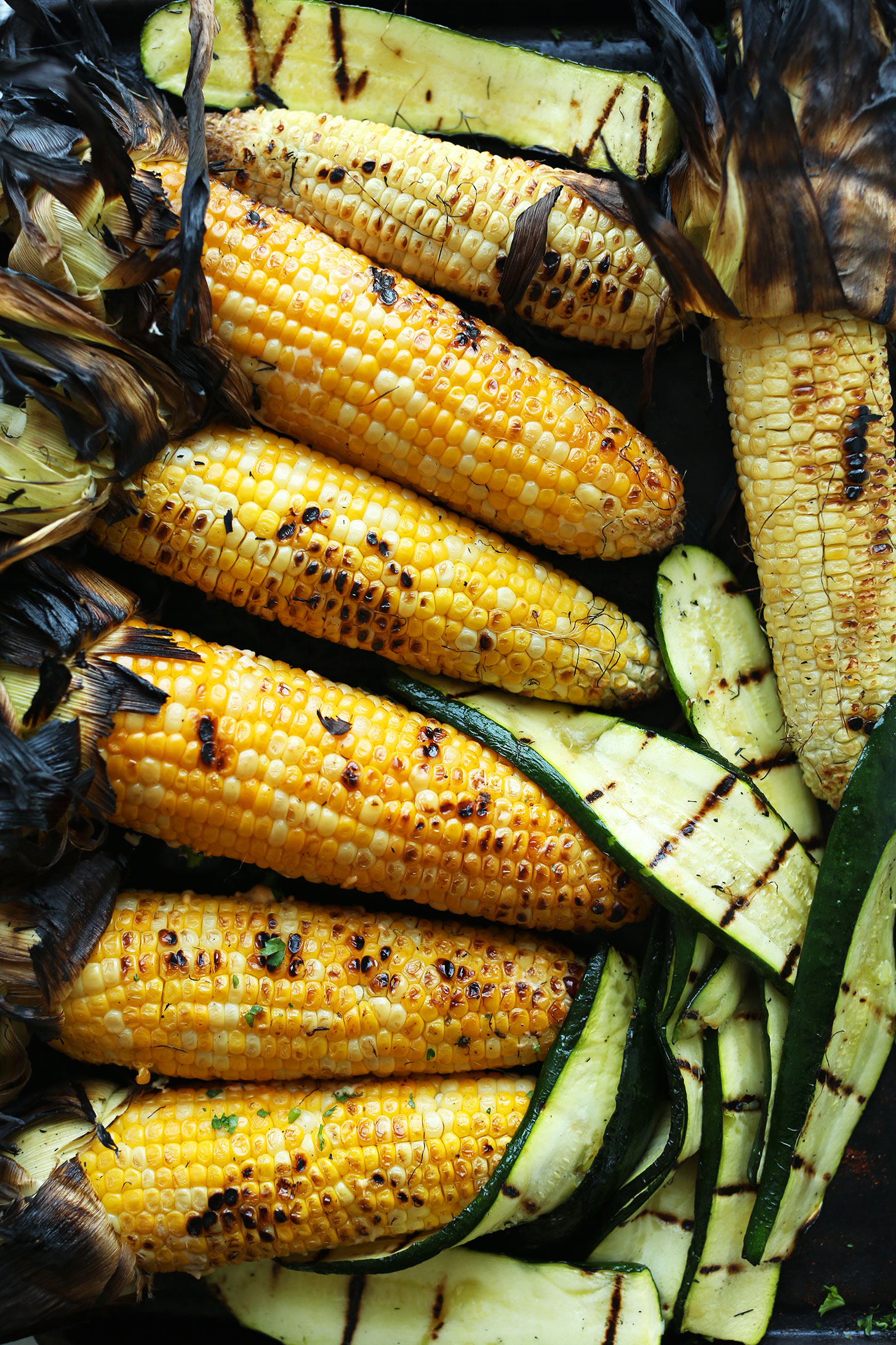 Freshly grilled corn and zucchini for a delicious summer vegan salad