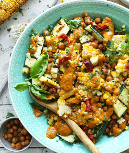 Grilled Corn Zucchini Salad for a plant-based summer salad recipe