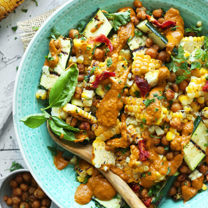 Grilled Corn & Zucchini Salad with Sun-Dried Tomato Vinaigrette