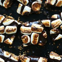 Vegan Smores Bars with oven roasted marshmallows on top