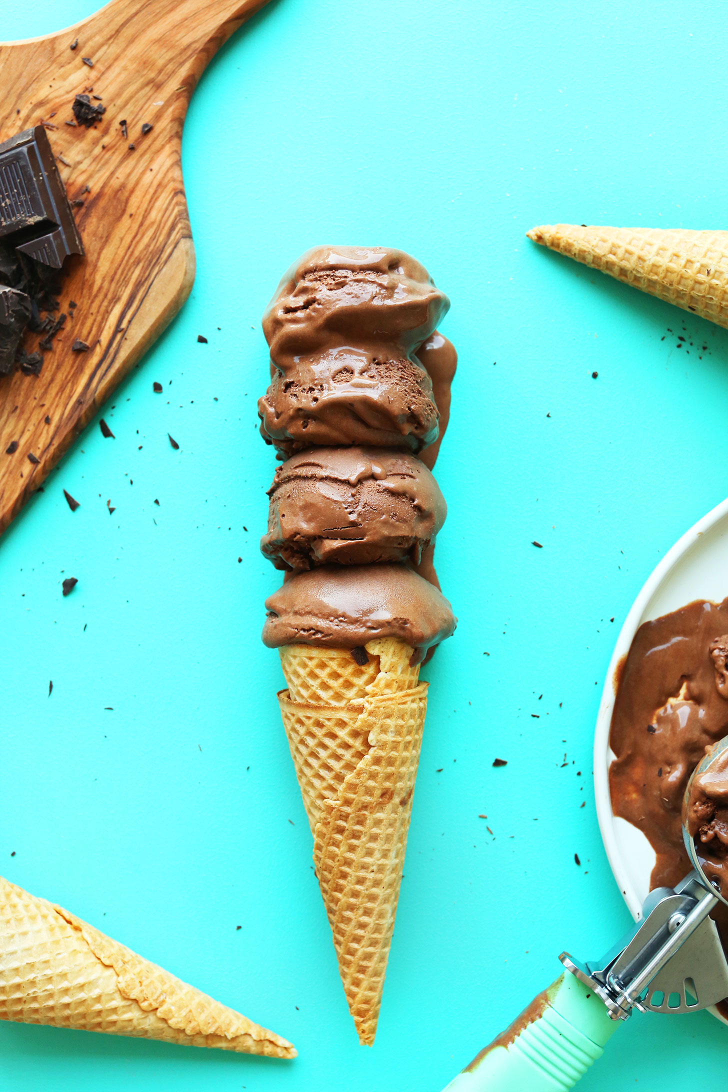 Cone topped with scoops of our amazing vegan chocolate ice cream recipe