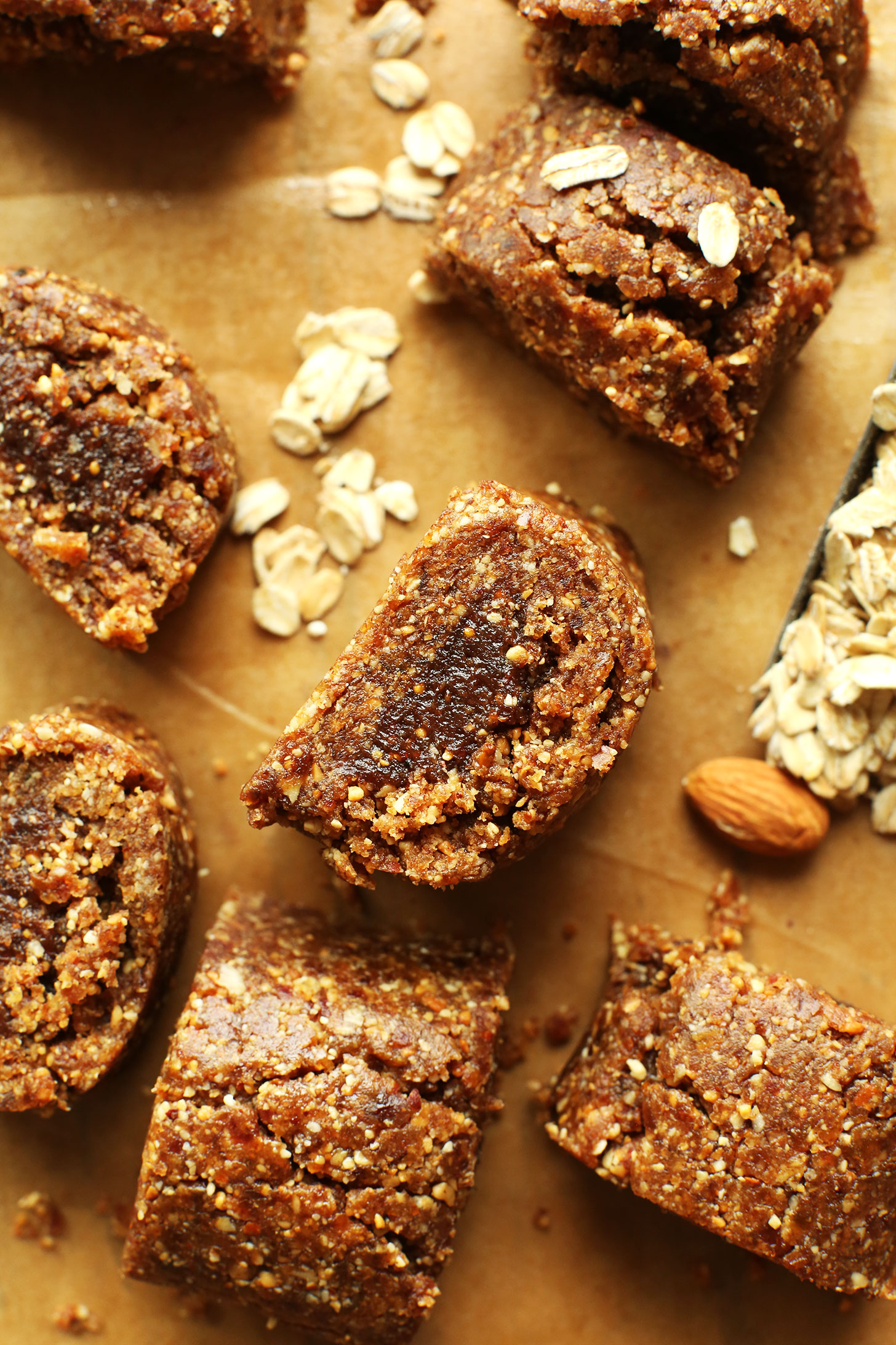 Squares of our Easy Healthy Fig Newtons recipe made with dates, nuts, oats, and figs