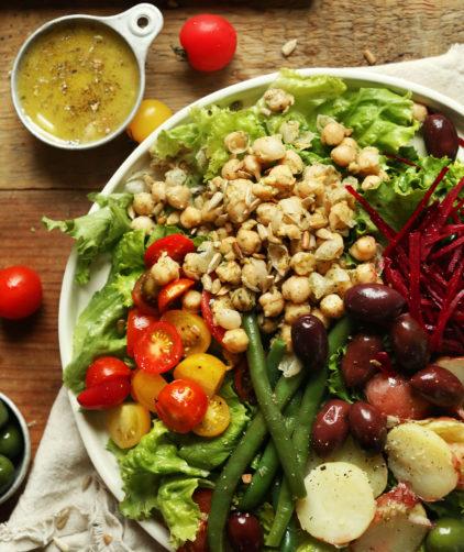 Plate of gluten-free Vegan Nicoise with Shallot and Dijon Vinaigrette