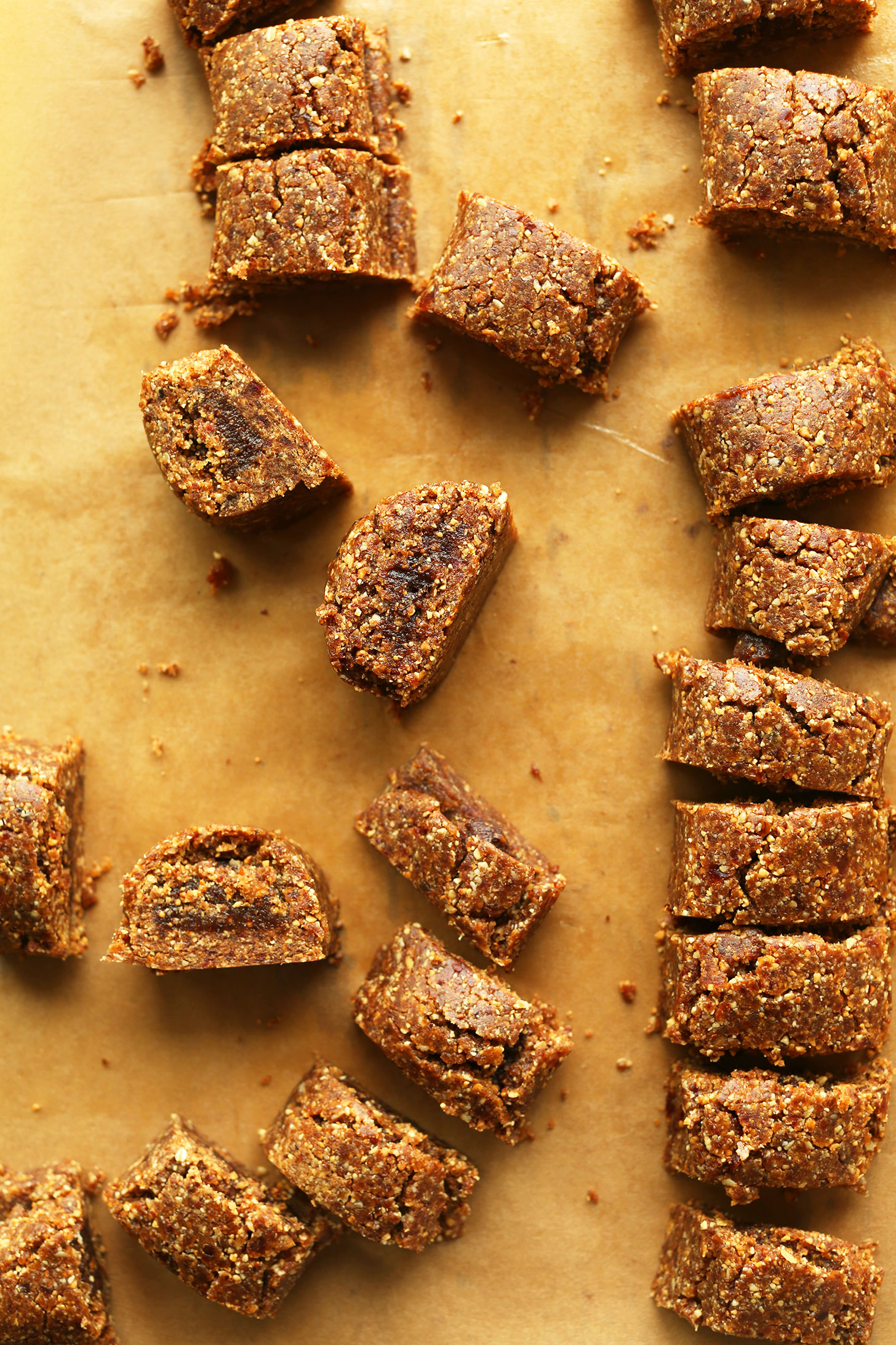 Healthy homemade fig newtons on parchment paper