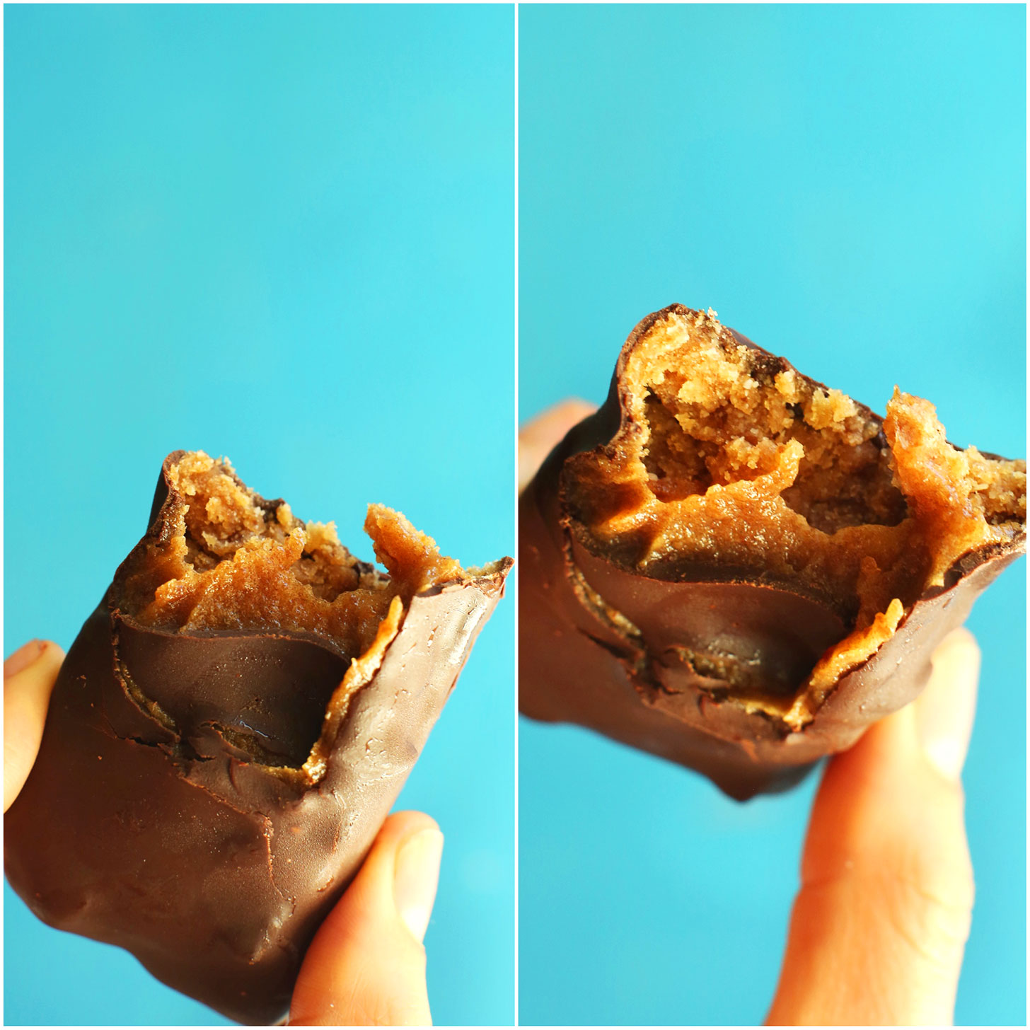 Showing the chewy inside of our Easy gluten-free Vegan Milky Ways