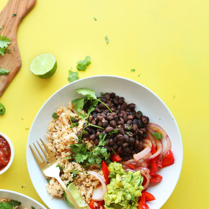 Cauliflower Rice Burrito Bowls for a plant-based meal with lots of fiber and protein