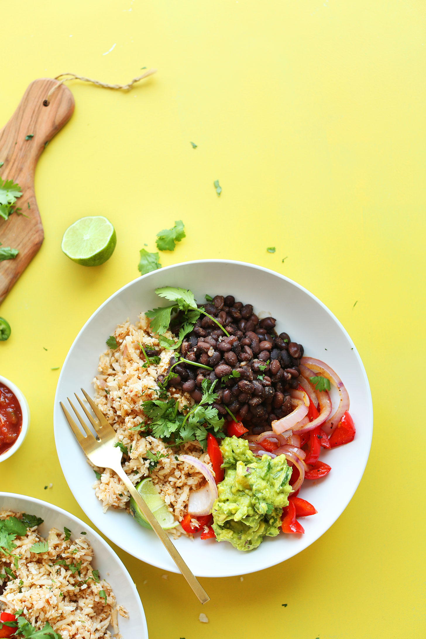 Cauliflower Rice Burrito Bowls packed with fiber and protein