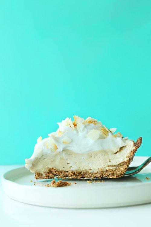 Slice of our delicious Coconut Cream Pie recipe for a gluten-free vegan dessert