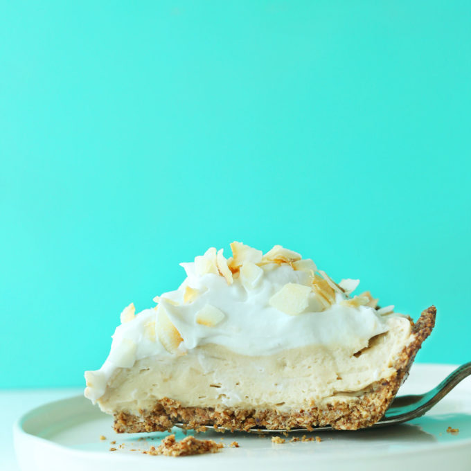 Slice of our delicious Coconut Cream Pie recipe for a gluten-free vegan dessert