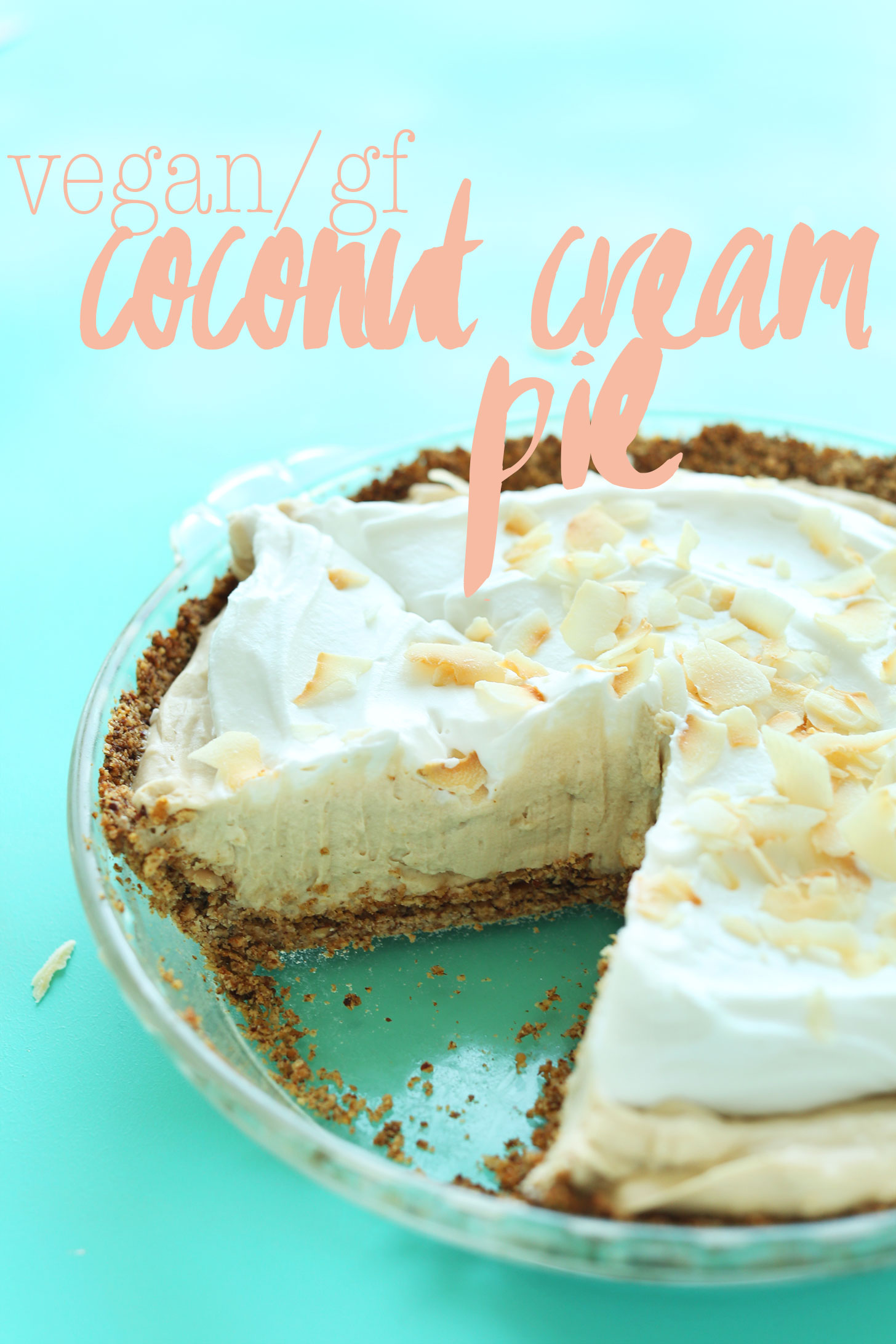 Vegan gluten-free Coconut Cream Pie with a slice removed from the whole pie