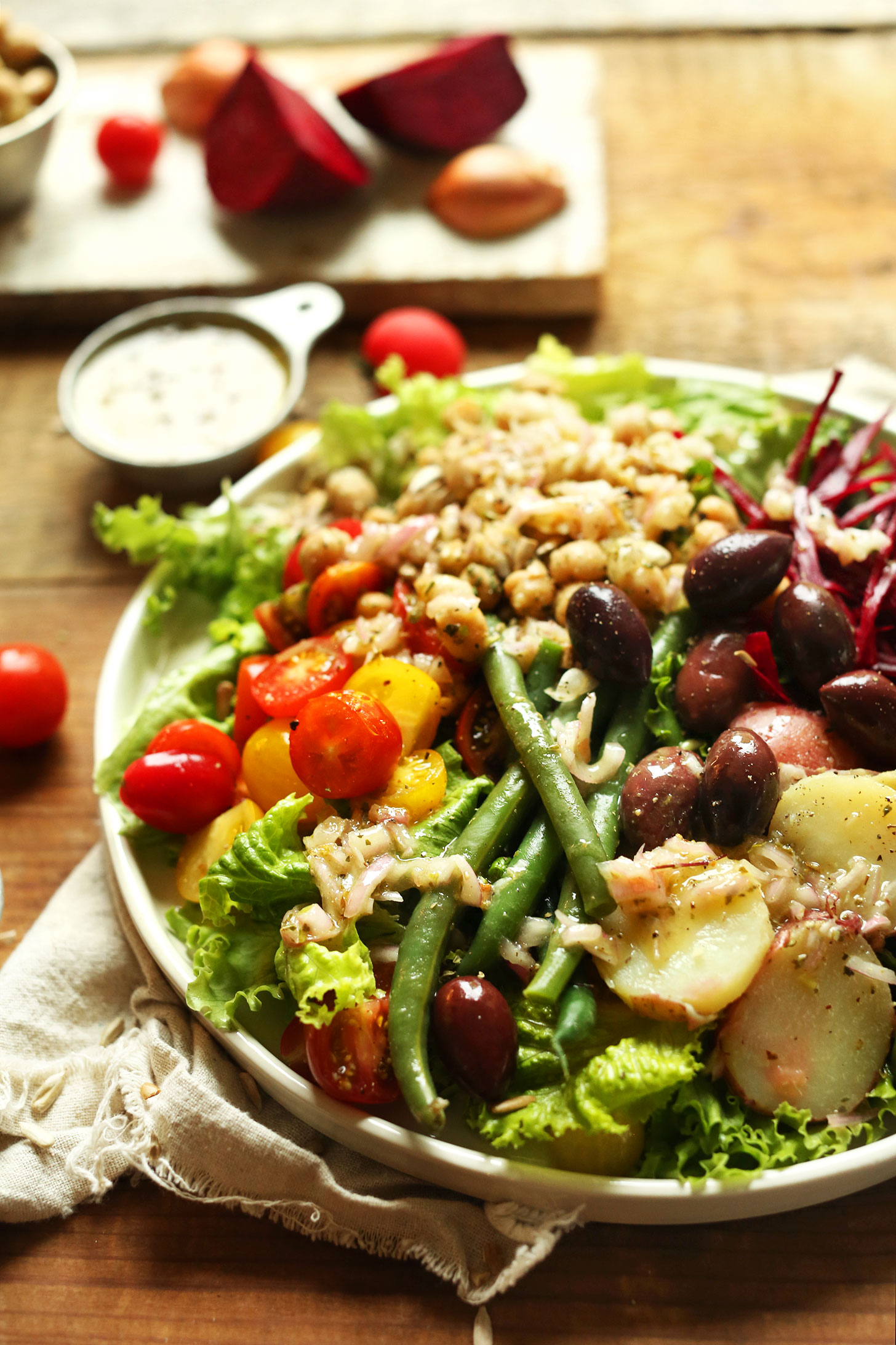 Close up shot showing the healthy vegetables on our gluten-free Vegan Nicoise Salad